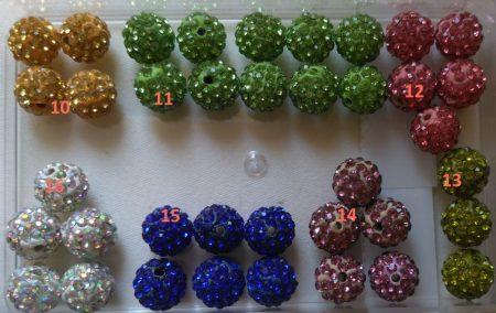 Shamballa gyöngy 10 mm - vegyes színek