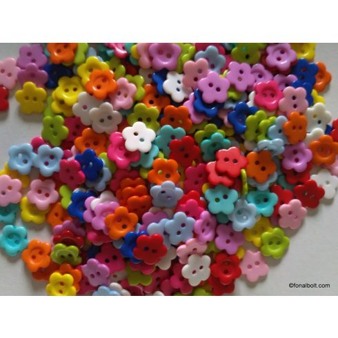Virág formájú műanyag gomb