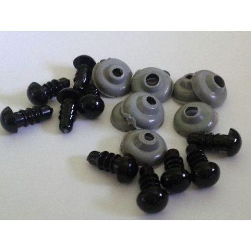 Fekete biztonsági szem hátlappal - amigurumi készítéséhez