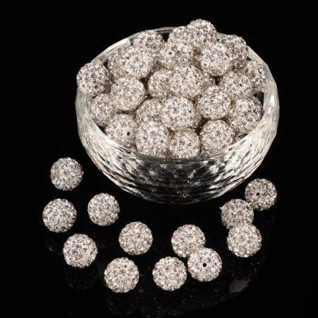 Shamballa gyöngy 10 mm - kristály