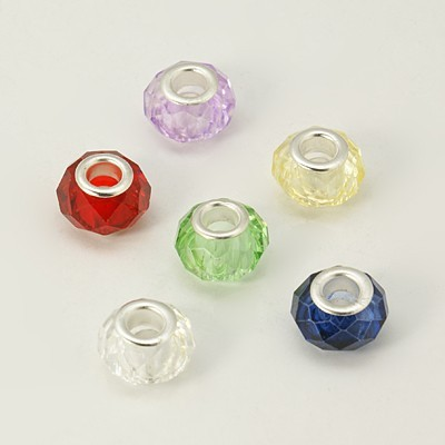 Üveg pandora gyöngy - fazettált